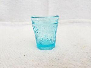 1920s Vintage Original Old Aqua Blue Color Tequilla Shot Miniature Glass Tumbler
