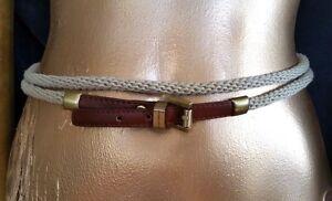 Michael Kors Wrap Belt Rope Brown Faux Leather Brass Buckle Sz XS