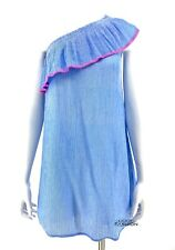 Lilly Pulitzer Emmeline One Shoulder Tunic Dress SZ XXS Ruffle Pinstripe Blue