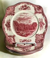 """4 Pink Johnson Brothers Old Britain Castles 7 1/2"""" Square Salad Plates"""