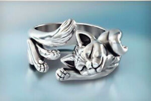 Vintage Cat Adjustable Open Ring 925 Sterling Silver Plt Women Jewellery Gift UK