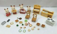 Flocked 4 Fuzzy Rabbits with Doll House Kitchen Stove Furniture Dishes Epoch
