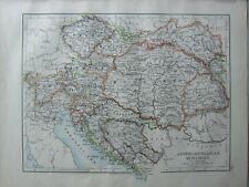 1899 Viktorianisch Landkarte ~ Austro Hungarian Monarchy Bosnien Tyrol Bohème