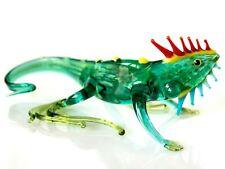 Iguana Glass Figurine, Blown Glass Art, Green and Yellow Reptile Miniature