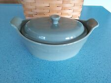Longaberger Pottery Small Oval Casserole dish & lid Sage green New in box