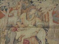 6x8  6x9 French Aubusson Tapestry Rug Garden Animals Beige Gold Blue ca 1900