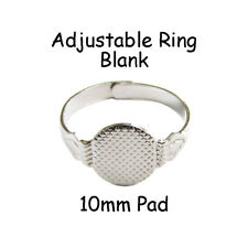 10 adjustable ring blank findings w/ 10mm glue on pad