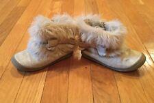 Gymboree Toddler Girls Faux Fur Short Boots Size 9 Gold Tan Brown Sparkle