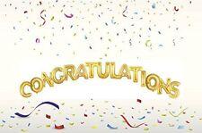 "40"" Congratulations Supershape Foil Letter Balloon Set - Flat In Gold"
