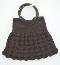Art Deco Brown Crocheted Corded Fabric Bakelite Handle Small Purse Vintage