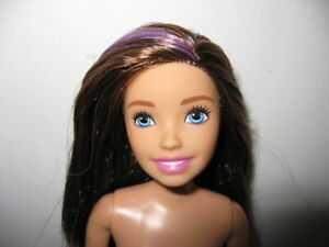 Nude Skipper Teen Doll - Brunette w/Purple Steak Hair - Articulated - For OOAK