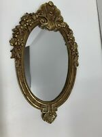 """Antique Ornate Mirror Oval Gold Gilt Gesso Wall Accent Victorian Floral 12""""x7"""""""