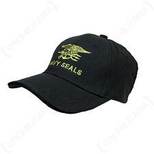 BLACK NAVY SEALS BASEBALL CAP - US American Military Peak Sun Hat Military New