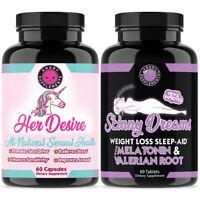 Her Desire Women's Sexual Health + Skinny Dreams Weight Loss Sleep Aid