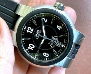ORIS Automatic 518-44 Day Date Black Dial 25 Jewels Rubber Band Stainless Steel