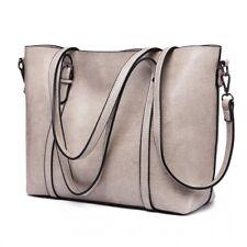 Damen Tasche Handtasche Umhängetasche Schultertasche Kunst Leder Schwarz Grau