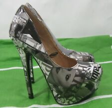 "Womens Black/White Hollywood 6"" Stiletto Heel 2"" Platform Sexy Shoes Size 5.5"