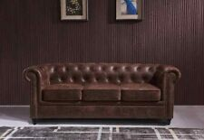 Chesterfield Sofa Distressed Rustic Tan Leather 3 + 2 Seater upholstered