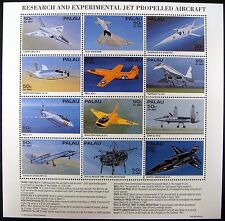 1995 MNH PALAU AIRCRAFT STAMPS SHEET OF 12 AIRPLANE JET PROPELLED ROLLS ROYCE