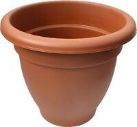 Large 40cm Round Barrel Planter Plastic Plant Pot Flower Planter Terracotta