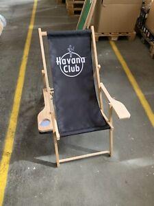 Havana Club Liegestuhl + Armlehnen Becherhalter Deckchair Deko Rum Stuhl NEU OVP