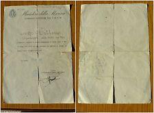 ANTICO DOCUMENTO MINISTERO DELLA MARINA DISTINTIVO COMMEMORATIVO LA SPEZIA 1939