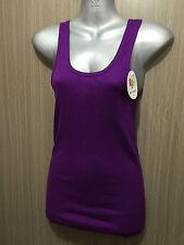 BNWT Sz 10 Womens Rio Brand Cotton Blend Hot Purple Stretch Classic Singlet Top