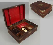 Mid-19thC Antique Rosewood & Brass Bound Portable Writing Desk & Dresser Box