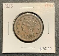 1853 U.S. BRAIDED HAIR LARGE CENT ~ XF+ CONDITION! $2.95 MAX SHIPPING! C3102