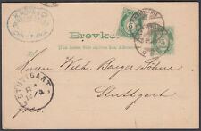 1894 Norway uprated Stationery Postacard, Christiania to Stuttgart, Germany