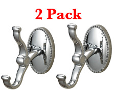 2 Metal Single Robe Hook Hanger Sterling 131-011 Zinc , Chrome ~ Silver