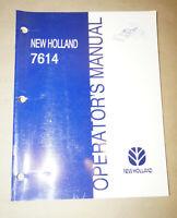 1998 New Holland Model 7614 Operator's Manual P/N 86563223