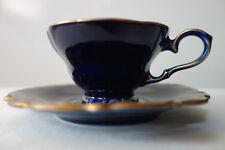 1 Mokkatasse echt kobaltblau vergoldet, Linder Porzallan 09 Daniela
