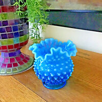 Sweet Vtg FENTON Ruffled Opalescent Aqua Blue Hobnail Glass Vase