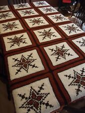 "Large Hand Stitched blanket Granny Squares Afghan 83""x76"" Tunisian Crochet"