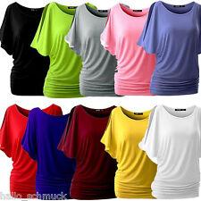 KUS Damen Oversize T-Shirt Shirts Tops Bluse Unifarbe Fledermaus S-XXL M12493