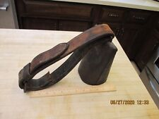 Antique # 8 Large Cow Bell Cowbell With Leather Collar Primitive Original