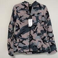 New Balance Womens Medium Zip-Up Jacket Hooded Lightweight Camo Abstract