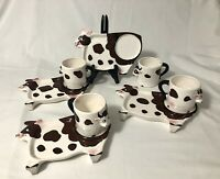 4-Vintage Lipper Mann Cow Snack Plates with Mugs Japan Farmhouse Hand Painted