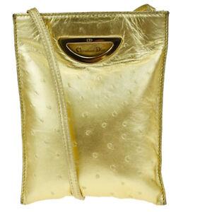 Authentic Christian Dior Logo Mini Shoulder Bag Ostrich Leather Gold 32JC269