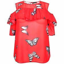 New Womens Plus Size Butterfly Chiffon Short Sleeve Cold Shoulder Blouse Top