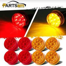 """8pc New 9 LED Amber/Red 2"""" Round Side Clearance Marker Light Waterproof 12V"""