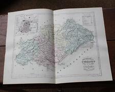 1850 Carte Géographique Atlas époque couleur Département 34 Hérault Montpellier