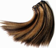 Haarverlängerung Echthaartresse glatt 40cm lang gesträhnt braun blond highlight