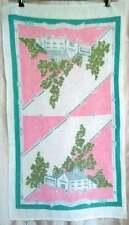 Vintage Startex Kitchen Tea Towel Antique Shop Pink Green 16.5x29