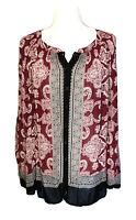 Lucky Brand Tunic Top 1X Plus Size Boho Pullover Peasant