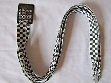 Black White Checkered Shoe Laces 20mm 115cm Long by Flirt H2