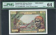 EQUATORIAL AFRICAN STATES 1963 500 FRANCS SPECIMEN CHOICE UNC PMG 64