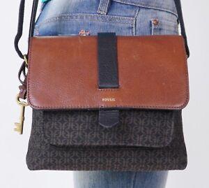 FOSSIL Small Black Brown Leathr Canvas Crossbody Shoulder Tote Satchel Purse Bag