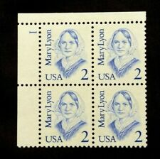US Plate Blocks Stamps #2169 ~ 1984 MARY LYONS 2c Plate Block of 4 MNH